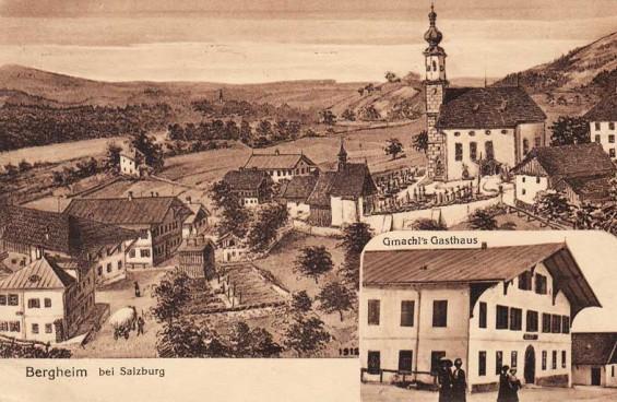 Dorfstraße in Bergheim - Postkarte aus 1913